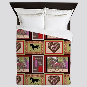 Dressage Horse Quilt Repeat 44x36 Queen Duvet